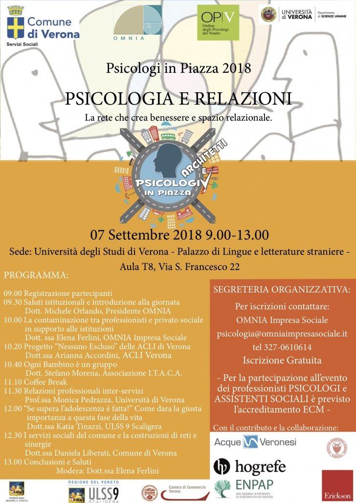 PSICOLOGI IN PIAZZA VERONA 2018 PSICOLOGIA E RELAZIONI